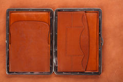 19th century old leather wallet on leather background Stock Photography