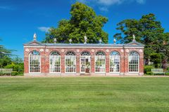 The Orangery, Burton Constable Hall, Yorkshire. The 18th century Orangery at Burton Constable Hall was designed by Thomas Atkinson and completed in 1782. The royalty free stock photography