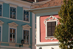 19th Century Pink and Blue Buildings, Sopron, Hungary. Pastel pink and blue 19th C buildings in the Central European city of Sopron, Hungary Royalty Free Stock Images