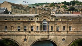 Pulteney Bridge in Bath stock images