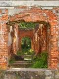 19th century red brick abandoned manor house. stock photos