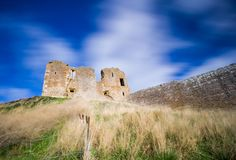 Ruined remains of Duffus Castle stock photo