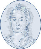 18th Century Russian Empress Bust Oval Drawing. Drawing sketch style illustration of an 18th century Russian empress bust viewed from front set inside oval shape Stock Photos