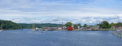 19th century sailing ships and riverside wharfs Stock Image