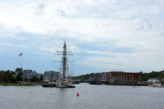 19th century sailing ships and riverside wharfs Royalty Free Stock Photos