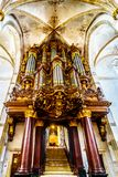 The 18th century Schnitger Organ in the interior of the 13th century romanesque St. Michael`s Church in Zwolle royalty free stock photos