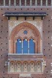 15th century Sforza Castle Castello Sforzesco, Milan, Italy. 15th century Sforza Castle Castello Sforzesco, detail of facade, Milan, Italy stock photography