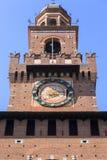 15th century Sforza Castle Castello Sforzesco, Milan, Italy. 15th century Sforza Castle Castello Sforzesco, detail on facade of The Torre del Filarete, Milan stock images