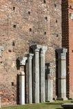 15th century Sforza Castle Castello Sforzesco, Milan, Italy. 15th century Sforza Castle Castello Sforzesco,old columns in the courtyard, Milan, Italy royalty free stock photos