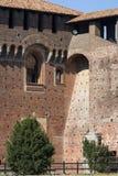 15th century Sforza Castle Castello Sforzesco, Milan, Italy. 15th century Sforza Castle Castello Sforzesco, red brick facade, Milan, Italy royalty free stock photography
