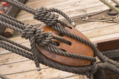 17th century ship rope tackle Stock Images