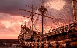 15th century ship on stormy sky stock image