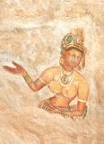 5th Century Sigiriya Rock Cave Wall Paintings, Sri Lanka Stock Photo