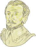 15th Century Spanish Explorer Bust Drawing. Drawing sketch style illustration of a bust of a 15th Century Spanish conquistador, explorer, navigator on isolated Stock Photography