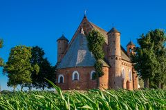 15th century St Michael fortified church in Synkovichi village, Grodno region, Belarus. royalty free stock image