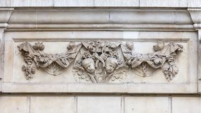 18th century St Paul Cathedral, decorative relief on facade, London, United Kingdom. It is an Anglican monumental cathedral, the seat of the Bishop of London Royalty Free Stock Photography