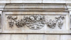 18th century St Paul Cathedral, decorative relief on facade, London, United Kingdom. It is an Anglican monumental cathedral, the seat of the Bishop of London Stock Image