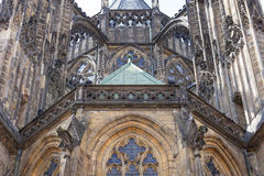 14th century St. Vitus Cathedral , facade,  Prague, Czech Republic. It is a Roman Catholic metropolitan cathedral in Prague, the seat of the Archbishop of Royalty Free Stock Photo