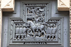 14th century St. Vitus Cathedral , facade, relief, details of the door,Prague, Czech Republic Stock Photography