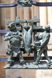 14th century St. Vitus Cathedral ,figures of Golden Gate fence,  relief, Prague, Czech Republic Royalty Free Stock Photos