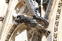 14th century St. Vitus Cathedral , gargoyle, stone bird, Prague,Czech Republic Stock Photo