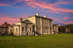 19th Century Stately Home, Brodsworth, South Yorkshire. Sunshine at English 19th Century Stately Home, Brodsworth, South Yorkshire stock images