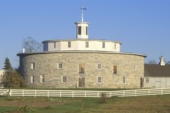 18th Century stone round barn in Berkshire Hills, Shaker village, Pittsfield, MA Stock Images