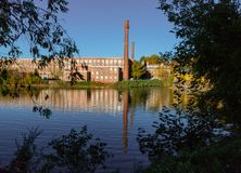 A 19th century textile mill has been renovated for modern use, s royalty free stock images