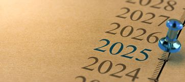 21th century time line, Year 2025. 21th century time line and blue pushpin with focus on the year 2025 stock illustration