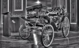 19th century vintage Benz Velo car. Black and white photo of a 1896 vintage Benz Velo on display at Motorclassica , a car and show held at the Royal Exhibition Stock Photo