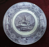 19th Century vintage old plate with paintings isolated over whit Royalty Free Stock Photography