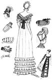 18th-century women accessories. Historical costume - set of 18th-century women accessories Vector Illustration