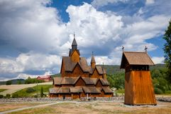 Heddal Stave Church with Bell tower Telemark Norway Scandanavia stock images