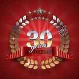 30th cirkel för årsdag med det röda bandet Royaltyfri Fotografi