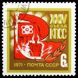 24th Communist Party Congress of the USSR, serie, circa 1971. MOSCOW, RUSSIA - MAY 25, 2019: Postage stamp printed in Soviet Union (Russia) devoted to 24th royalty free stock images
