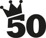 50th coroa do número do aniversário ilustração royalty free