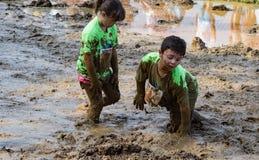 21th corsa annuale di trotto di Pollywog - di Marine Mud Run Fotografia Stock Libera da Diritti