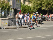 The 99th cycle race. Leaders of the cycle race are pedaling in the street of the French town Pau. These are a member of the team 'FDJ-Bigmat' Pierrick Fedrigo Stock Photo