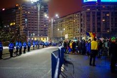 13th dag av protesten mot korruptiondekretet, Rumänien Royaltyfri Foto