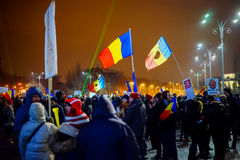 13th dag som protesterar mot korruption, Bucharest, Rumänien Fotografering för Bildbyråer