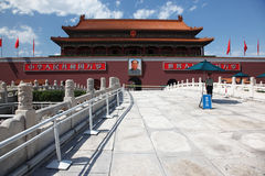 Th de la puerta de Tienanmen (la puerta de la paz celeste) Foto de archivo