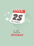 25th December on calendar for Christmas concept. Royalty Free Stock Images