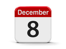 8th December. Calendar web button - The Eighth of December, three-dimensional rendering, 3D illustration Stock Image