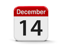 14th December. Calendar web button - The Fourteenth of December, three-dimensional rendering, 3D illustration Stock Photography