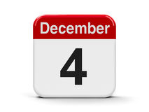 4th December. Calendar web button - The Fourth of December, three-dimensional rendering, 3D illustration Stock Photo