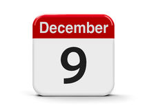 9th December. Calendar web button - The Ninth of December - International Day Against Corruption, three-dimensional rendering, 3D illustration Stock Images