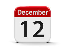 12th December. Calendar web button - The Twelfth of December, three-dimensional rendering, 3D illustration Royalty Free Illustration