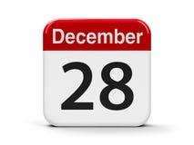 28th December. Calendar web button - The Twenty Eighth of December - International Cinema Day, three-dimensional rendering, 3D illustration Vector Illustration