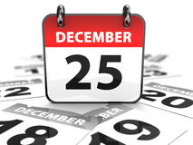 25th december. 3d illustration of calendar with 25th december page Royalty Free Stock Photos