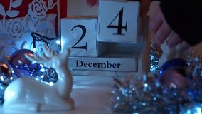 24th December Date Blocks Advent Calendar stock footage